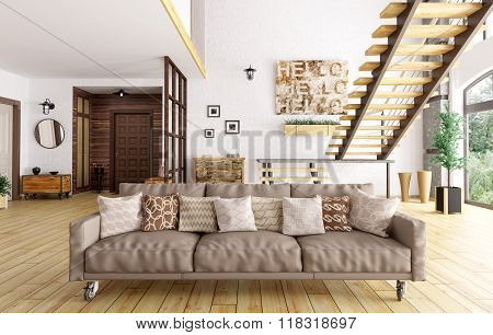 Modern Interior Of Living Room And Hall 3D Rendering