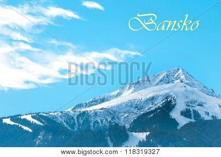 Vibrant Bansko travel ski background with slopes area, snow mountain peak