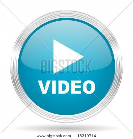 video blue glossy metallic circle modern web icon on white background