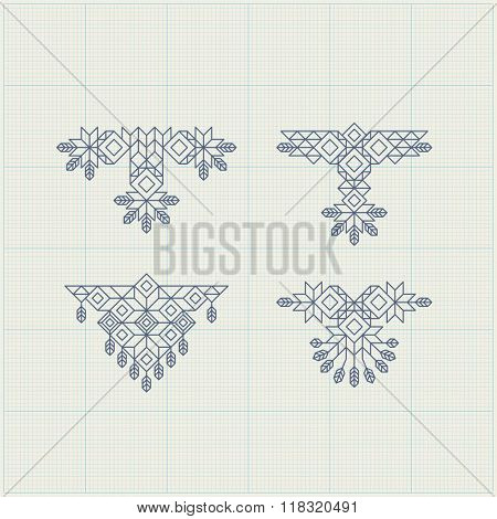 Vintage Decoration Element. Line Art Design for Invitations, Posters, Badges. Linear Element. Geometric Style. Ornate Element for Design. Elegant luxury design template. Lineart Vector Illustration.
