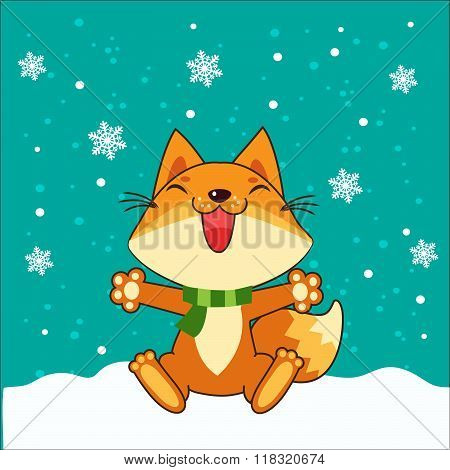 Small Fox. Vector Fox. Fox Sitting. Vector Illustration. Fox In Winter. Snow Falling. Small Fox Plush. Small Fox Stickers. Small Fox Figurine. Small Fox Tail. Small Fox Toy. Small Fox Pet.