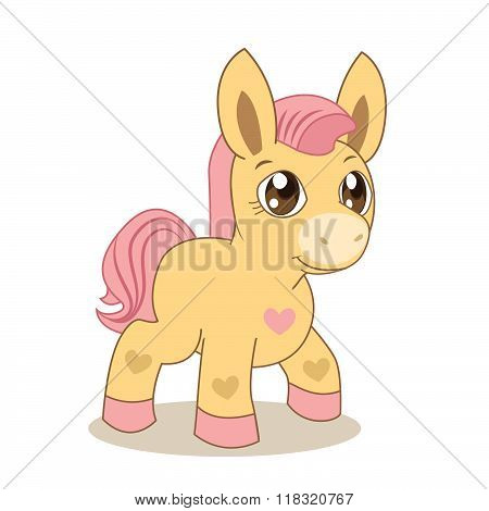 Pink Pony. My Favorite Pony. Cute Pony. Vector Pony. Pony And Heart. Fairy Pony. The Picture On A Beige Background. Pink Mane. Vector Handsome. Fairy-Tale Characters. The Hero Of The Tale, Fantasy.