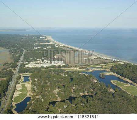 Aerial view of Hilton Head Island taken from a plane