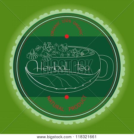 Herbal tea theme vector illustration.