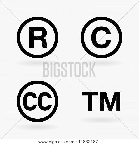 Set Of Intellectual Property Symbols