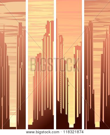 Set Vertical Banners With Illustration Of Big City At Sunset.