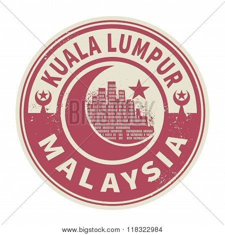 Stamp With Text Kuala Lumpur, Malaysia Inside