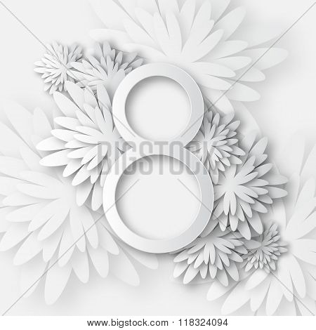 Floral Greeting card with 8 March. International Women's Day.