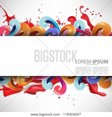 ink splattered rectangle white frame multicolored background
