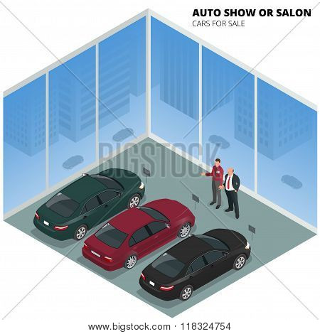 Commercially colorful cars stand in car shop. Cars for sale. Auto business, car sale and people conc