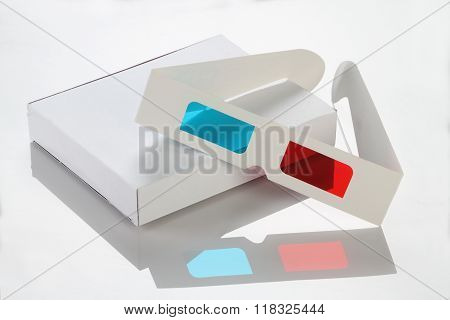 White Paper / Card Box And 3D Glasses
