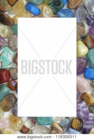 Healing Crystal Gemstone Filled Border  - A solid portrait oriented rectangle filled with multicolored tumbled stones with the center cropped out providing an empty white central background