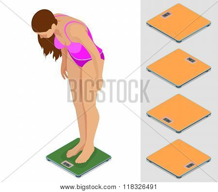 Girl weighing. Young sporty girl standing on the scales. Flat 3d vector isometric illustration