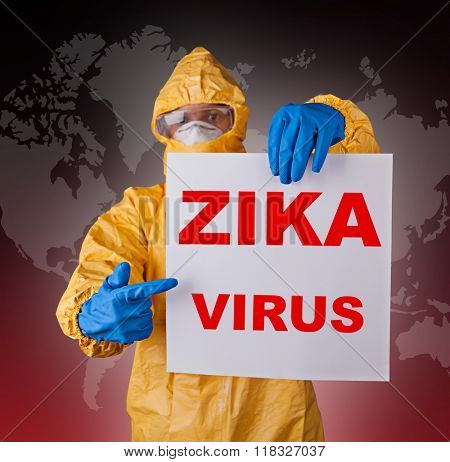 Zika virus concept, medical worker in protective clothes.