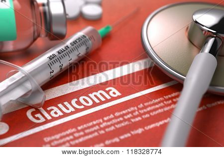 Glaucoma - Printed Diagnosis on Orange Background.