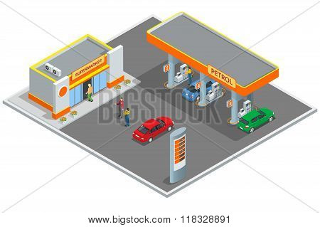 Gas station, petrol station. Refilling, shopping service. Refill station cars and customers. Busines