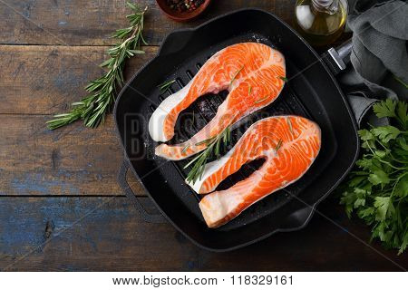 Salmon Steak On A Griddle Pan
