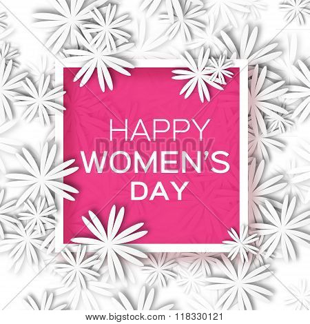 Abstract White Floral Greeting card - International Happy Women's Day - 8 March holiday