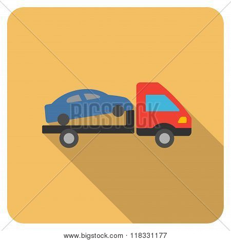 Car Evacuation Flat Rounded Square Icon with Long Shadow