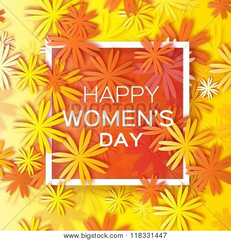 Abstract Orange Yellow Floral Greeting card - International Happy Women's Day - 8 March holiday