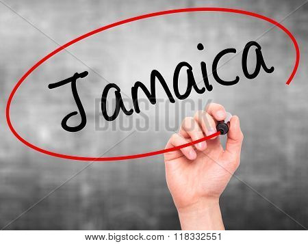 Man Hand Writing Jamaica  With Black Marker On Visual Screen