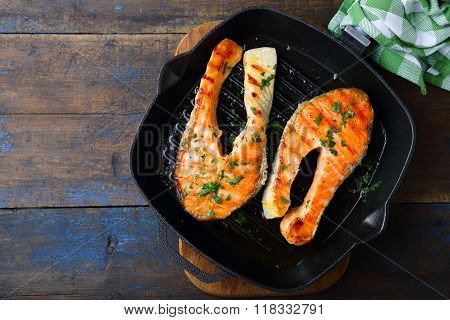 Grilled Salmon Steak On A Griddle