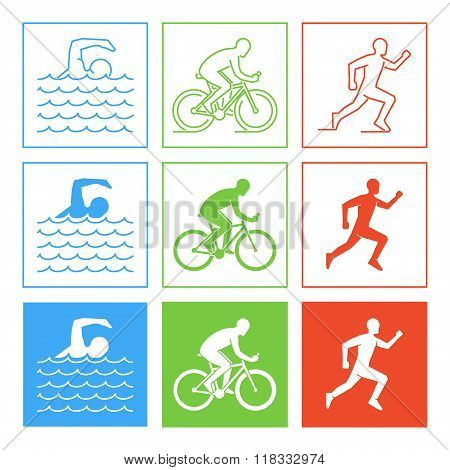 Colored pencil drawing of the logo triathlon. Figures triathletes on a white background. Swimming cycling and running symbol.