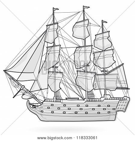 Big old wooden historical sailing wire boat on white. With sails, mast, brown deck, guns.