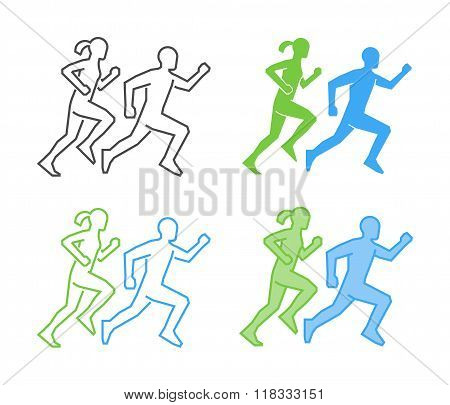 Line And Flat Running Logo. Vector Running Icon. Runner Silhouet