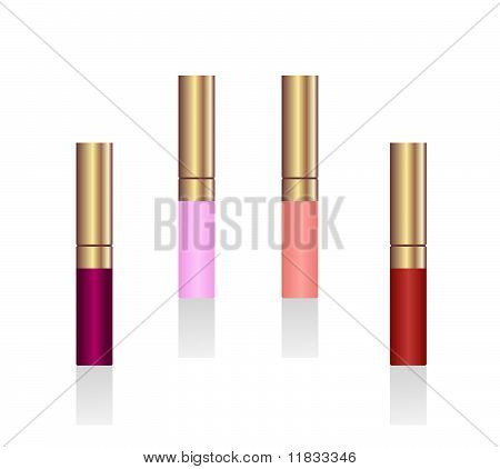Realistic Illustration Of Lipsticks Are Isolated On White Background