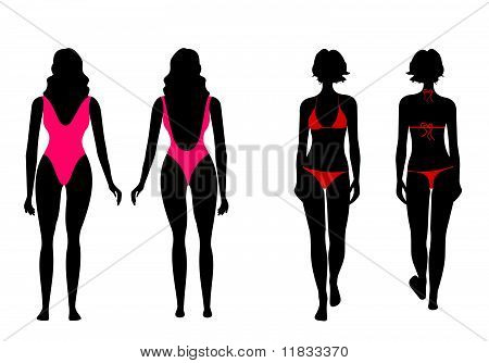 Silhouettes Of Women In Bathing Suit