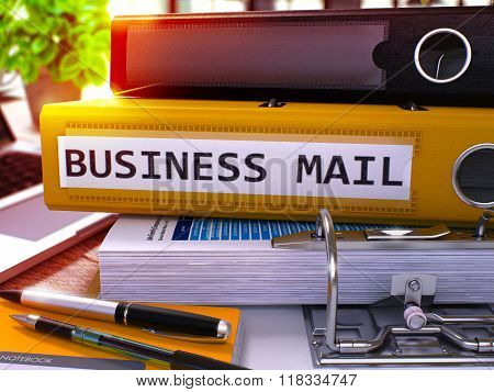 Yellow Office Folder with Inscription Business Mail.