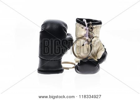 Key Chain Boxing Gloves. Isolated On White.