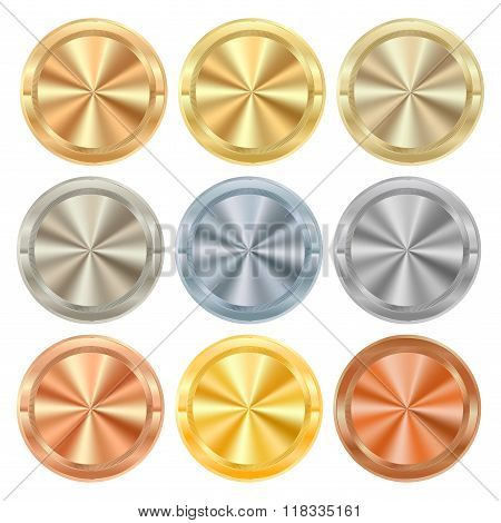 Vector Collection Of Round Knobs Of Different Kinds Of Metal Gold Silver Platinum Copper Bronze Bras