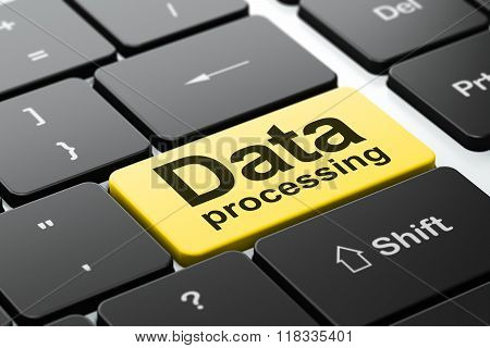 Information concept: Data Processing on computer keyboard background