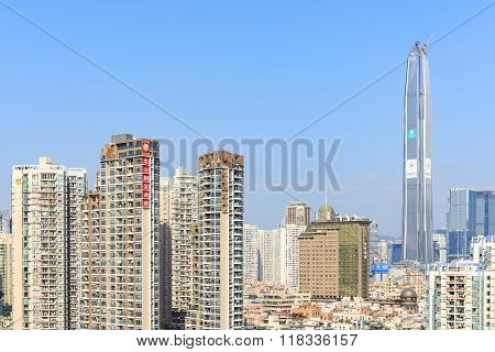 Shenzhen, China - 18 January, 2016: Shenzhen Skyline With The Kk100, The Second Tallest Building Of