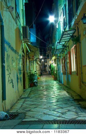Narrow Alley At Night On Corfu Island