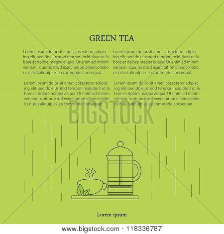 Vector template, design element, banner of green tea.