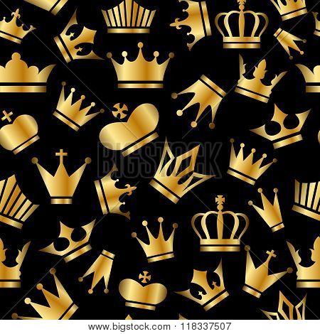 Seamless Pattern With Gold Crowns