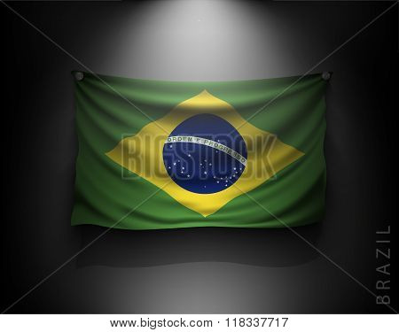 Waving Flag Brazil On A Dark Wall