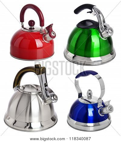 Set Of Colour Tea Kettle Isolated On White Background