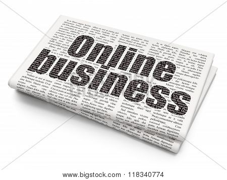Finance concept: Online Business on Newspaper background