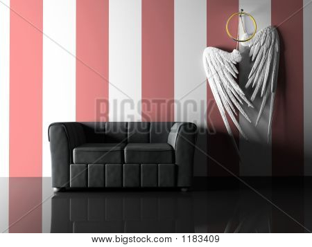 Interior With Black Sofa And Pair Wings