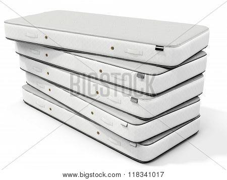 3D White Mattress Stack