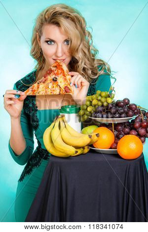 Photo of the Eating young woman over green