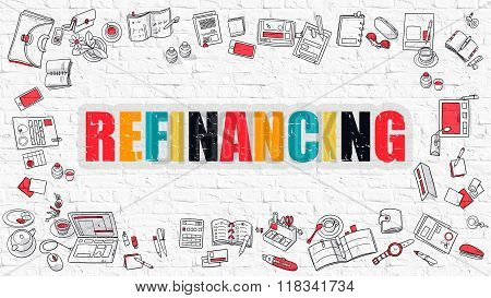 Refinancing Concept with Doodle Design Icons.
