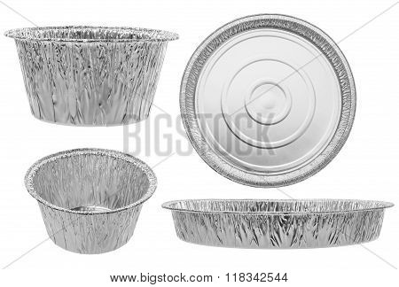 Set Of Round Catering Trays On A White Background