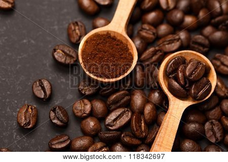 Coffee in two conditions: ground and beans