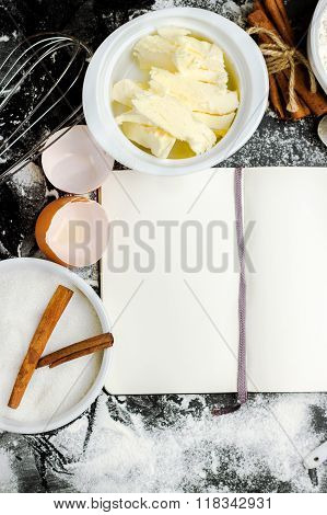 Baking background with sugar, flour, eggs, butter