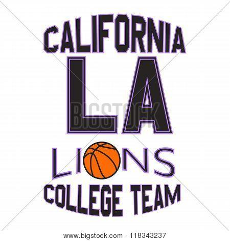 Los Angeles Lions. College Team Print Design